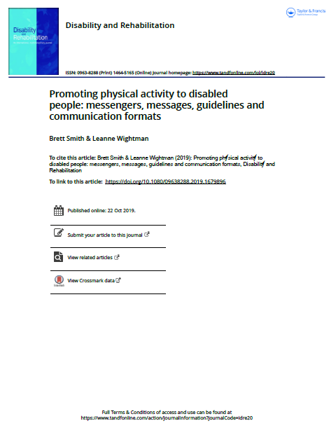 Promoting physical activity to disabled people: messengers, messages, guidelines and communication formats
