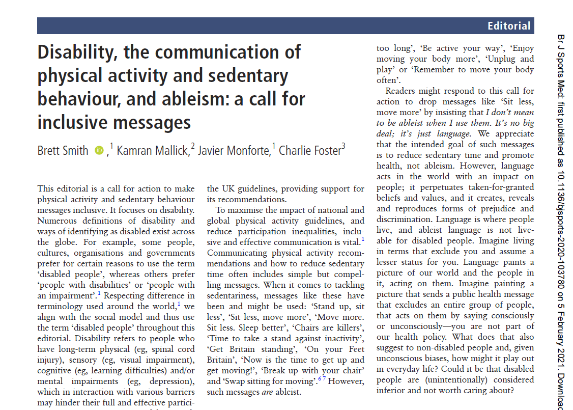 Disability, the communication of physical activity and sedentary behaviour, and ableism: a call for inclusive messages