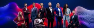 The presenters for Channel Fours Paralympics broadcast stand in front of a blue and red graphic. This includes: de Adepitan,Sophie Morgan, JJ Chalmers, Ed Jackson, Lee McKenzie, Vick Hope , Clare Balding, Arthur Williams, Steph McGovern,