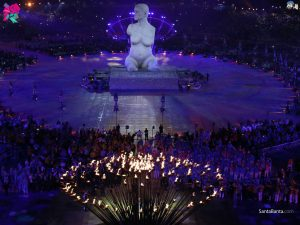 The opening ceremony the London Paralympic games in 20212. The cauldron is seen and a statue of woman is in the background