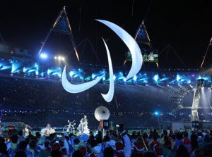 The Paralympic logo flies above London Stadium during the 2012 Paralympic opening ceremony