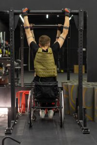 A Disabled man in a wheelchair is pictured in the gym