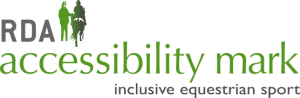 The accessibility mark logo is seen - it depicts a horse rider and a guide