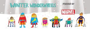 Wonderwheels is the text displayed behind cartoon images of Disabled children and people with various mobility differences