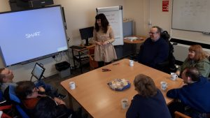 Get Yourself Active Programme Manager Lydia Bone leads a group of Disabled people in discussion