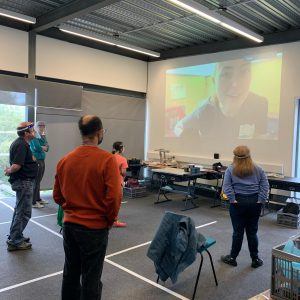 """ArtWorks South Yorkshire using their Tackling Inequalities Fund award to help their seventy users with learning and physical disabilities across their three sites to become more physically active. They split their sites into bubbles to stay Covid safe, and each site is connected via a webcam and projector enabling them to deliver a series of dance, aerobic, and yoga sessions."""""""